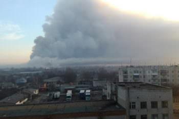 Взрыв в городе Балаклее военных складов, в городе объявлена эвакуация