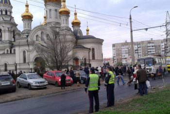 In the city of Izyum and the district strengthen security measures near the Church on the celebration of Easter