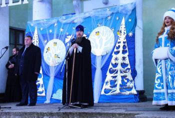 Архиерейская ёлка в центре города Изюма 8 января 2018 года