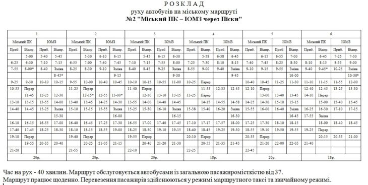 Городской маршрут № 2 (расписание)